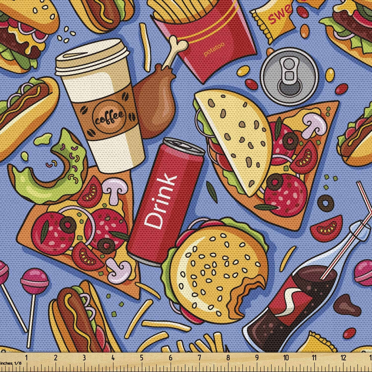 Lunarable Fast Food Fabric by The Yard, Cartoon Style Junk Food Hamburger Pizza Tacos Fizzy Drinks Fries, Decorative Fabric for Upholstery and Home Accents, 1 Yard, Ceil Blue