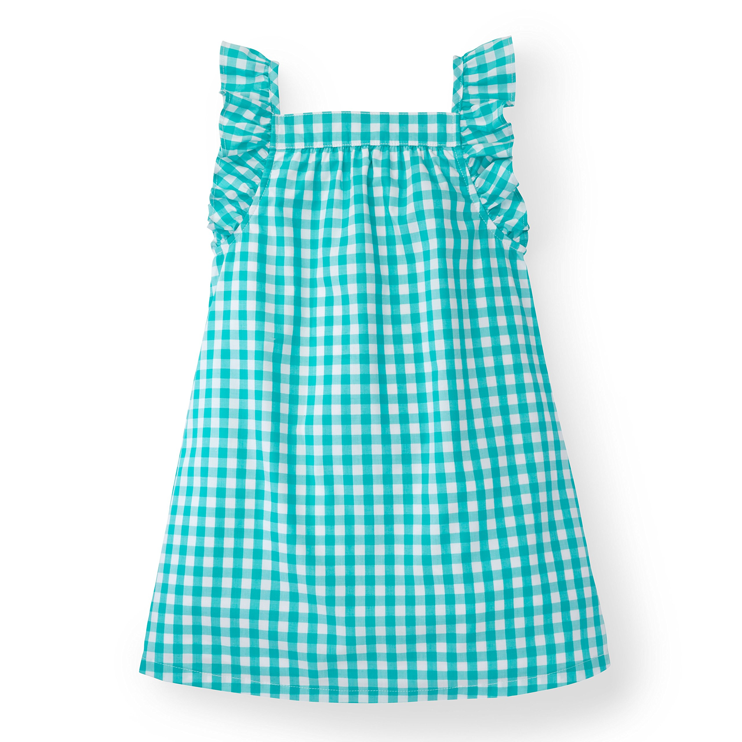Hope & Henry Girls' Green Gingham Frill Sleeve Woven Dress Made with Organic Cotton