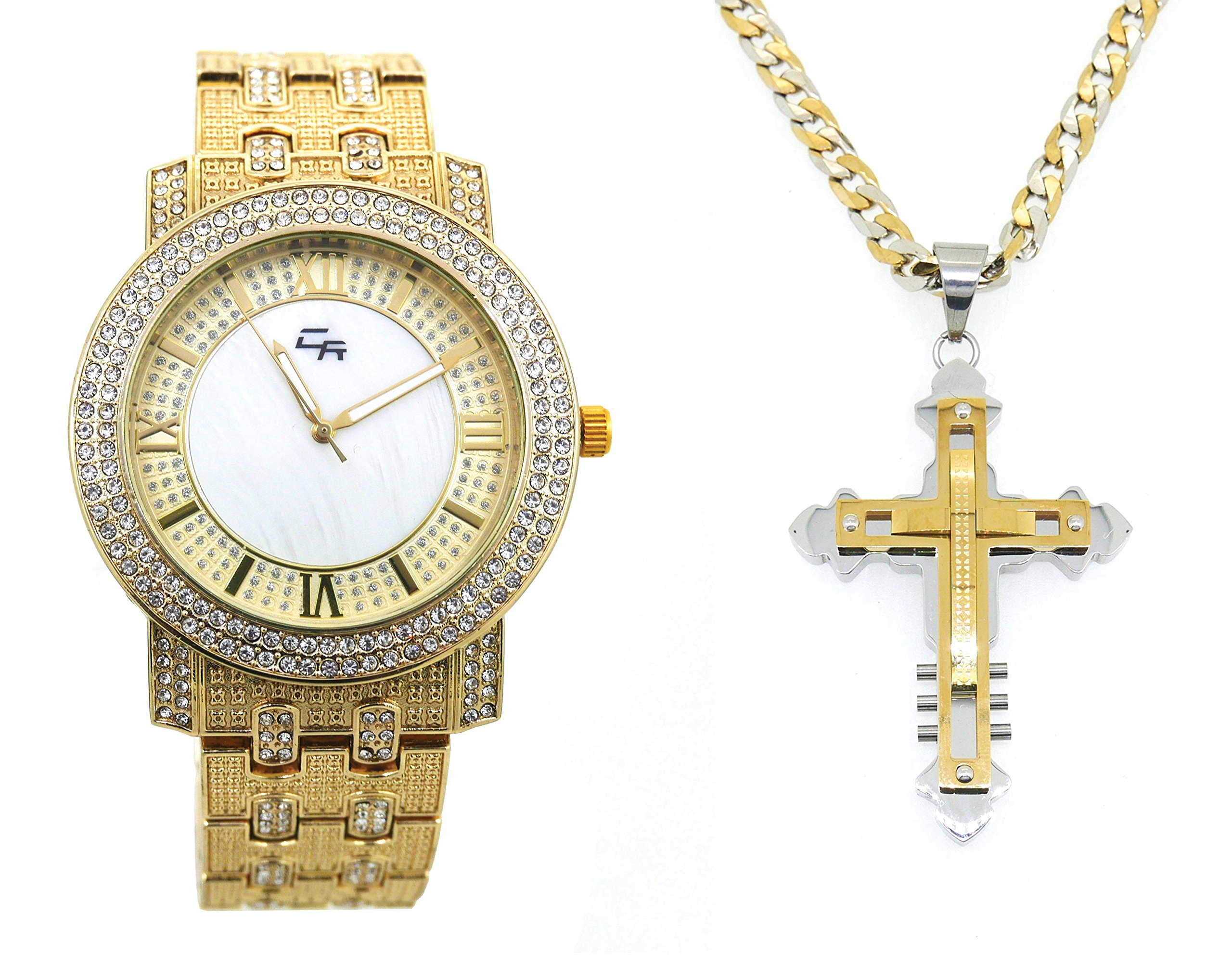 Iced Out Thick Rich Hip Hop Bling Mens Gold Watch with Stainless Steel Jesus Pendent Necklace - 031GLD-GCR20