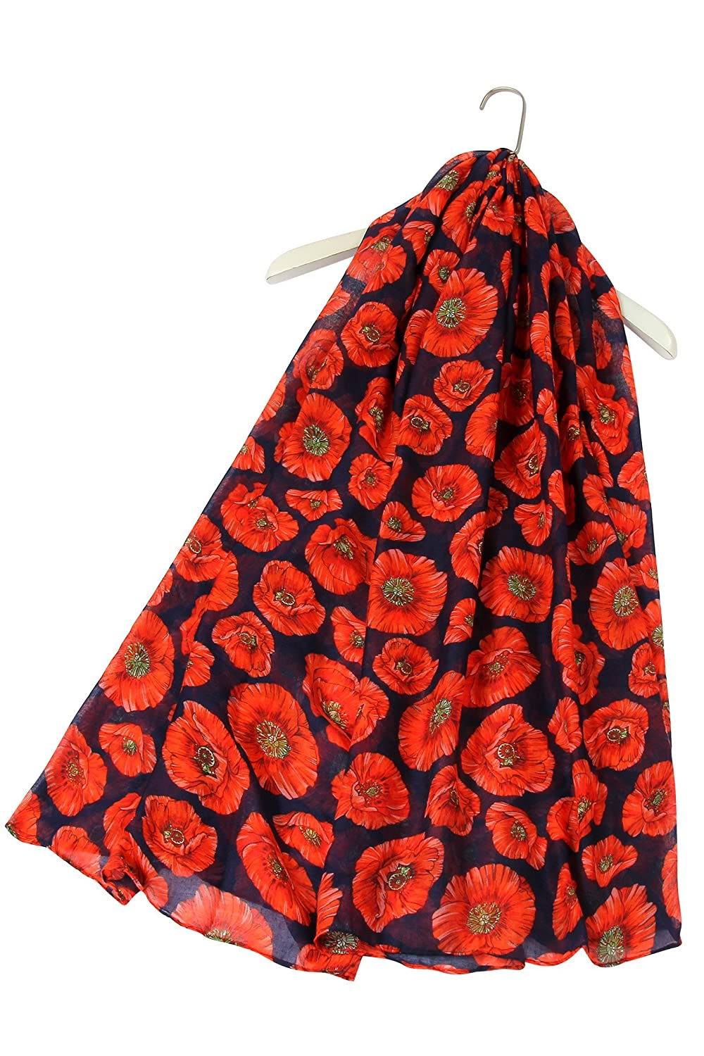 SEW ELEGANT NEW Ladies Women's The Red Poppy Flower Print Scarf Black