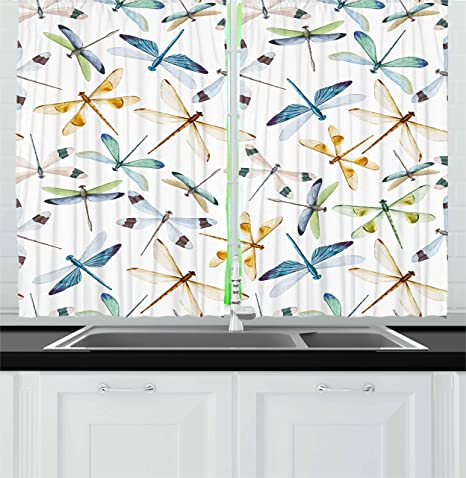 Ambesonne Dragonfly Kitchen Curtains Moth Butterfly Like Bugs In Watercolor Print Modern Minimalist Design Art Print Window Drapes 2 Panel Set For Kitchen Cafe Decor 55 X 39 Multicolor Home
