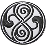 "Doctor Who SEAL OF RASSILON Black on White 3 1/2"" Diameter Embroidered PATCH"