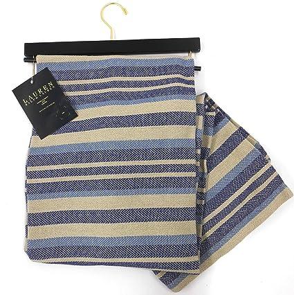 d4722fdc44 Amazon.com  Ralph Lauren 100% Cotton Oversized Throw Blanket Vintage Retro  Striped Design Navy Blue Khaki Grey  Home   Kitchen