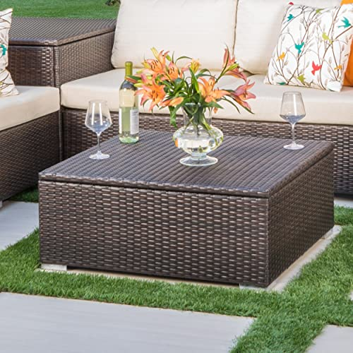 Costa Mesa Outdoor Multibrown Wicker Coffee Table with Storage