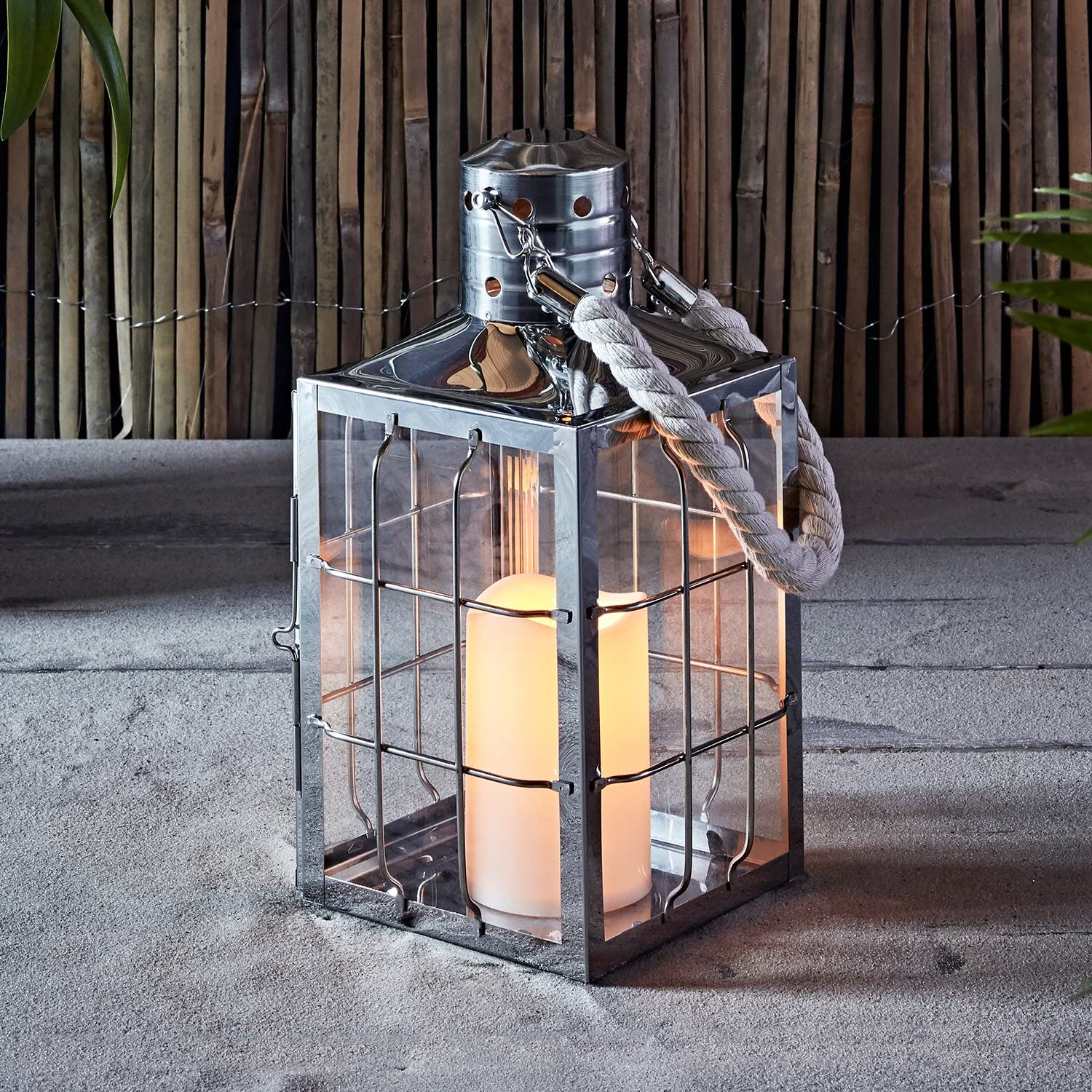 Lighted Flicker Flame HANGING CANDLE LANTERNS Nautical Beach Home Decor Sign NEW