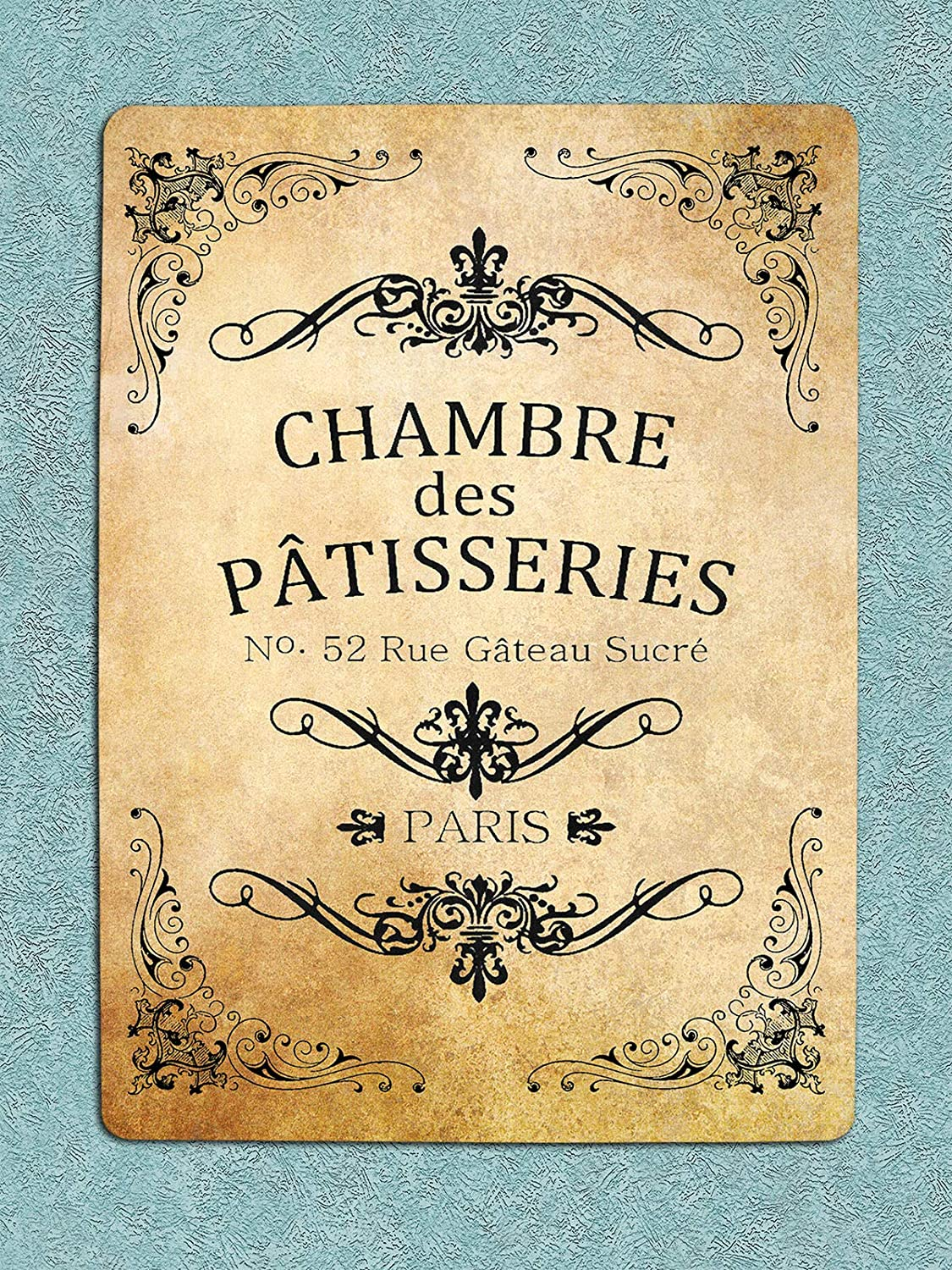 New Vintage Metal Tin Sign French Paris Chamber Des Patisseries Pastry Room Street Garage & Home Bar Club Kitchen Hotel Wall Decor Metal Plaque Sign 12X8Inch