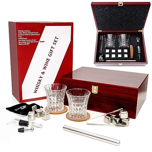 Juego de 2 Vasos de Whisky en Caja de Madera y Enfriador de Vino Tinto con Tapón Aireador para Enfriar Bebidas sin Dilución – Regalos de Cumpleaños ...