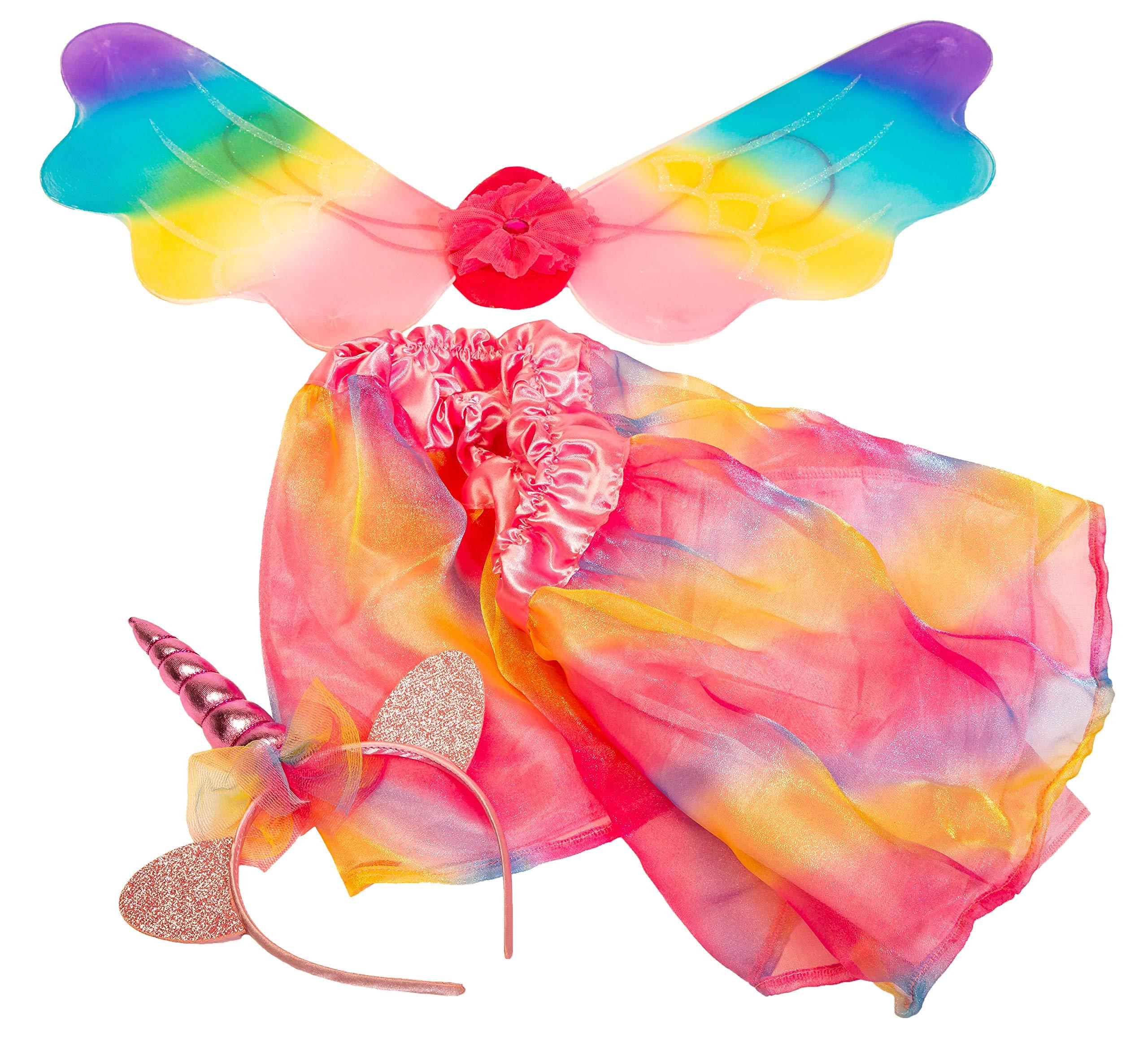 Girls Dress Up Set: Unicorn, Superhero, Angel, Mermaid, Princess - with Storage bin Pink by MMP Living (Image #3)