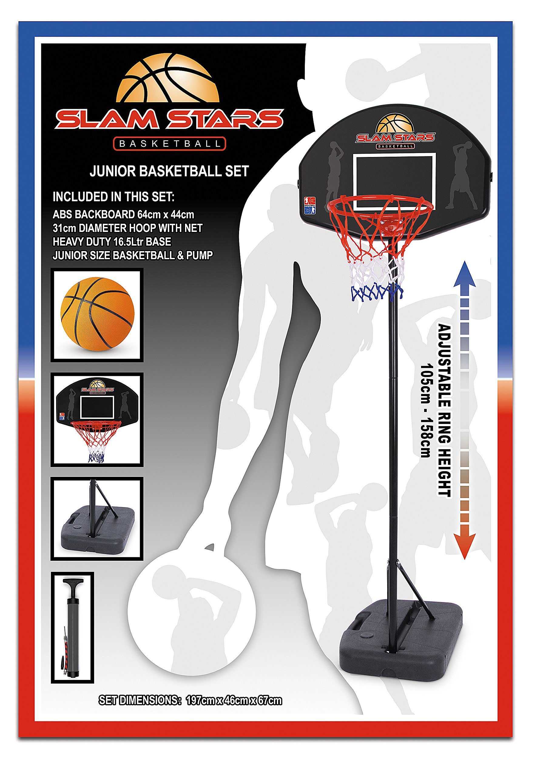 Slam Stars Junior Basketball Set - Black, 105-158 Cm by Slam Stars (Image #1)