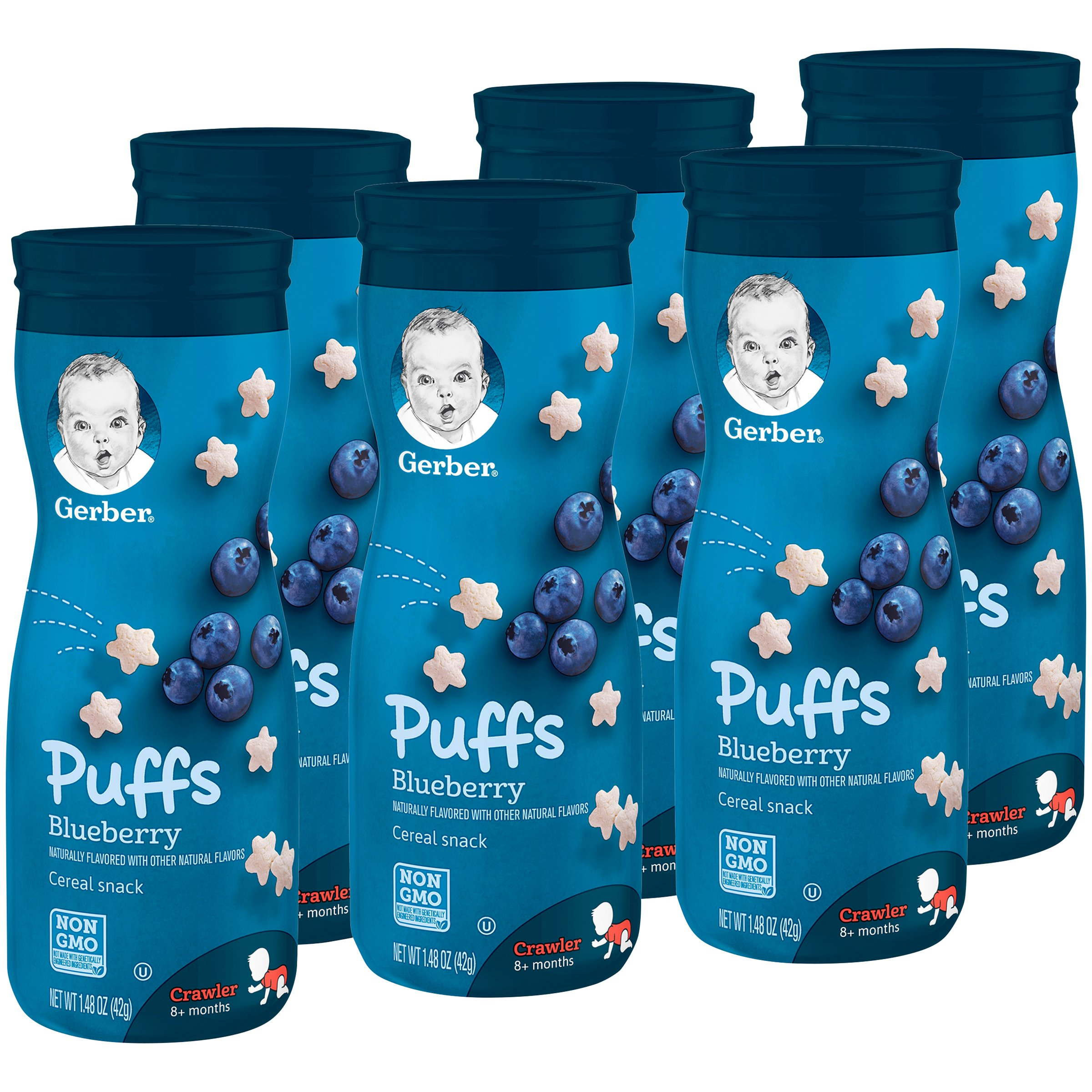 Gerber Puffs Cereal Snack, Blueberry, 6 Count by Gerber