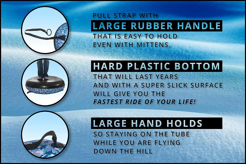 WindRider Snow Tube Heavy Duty with a Hard Plastic Bottom, Durable Cordura Nylon Top Towable High Speed Snow Sled