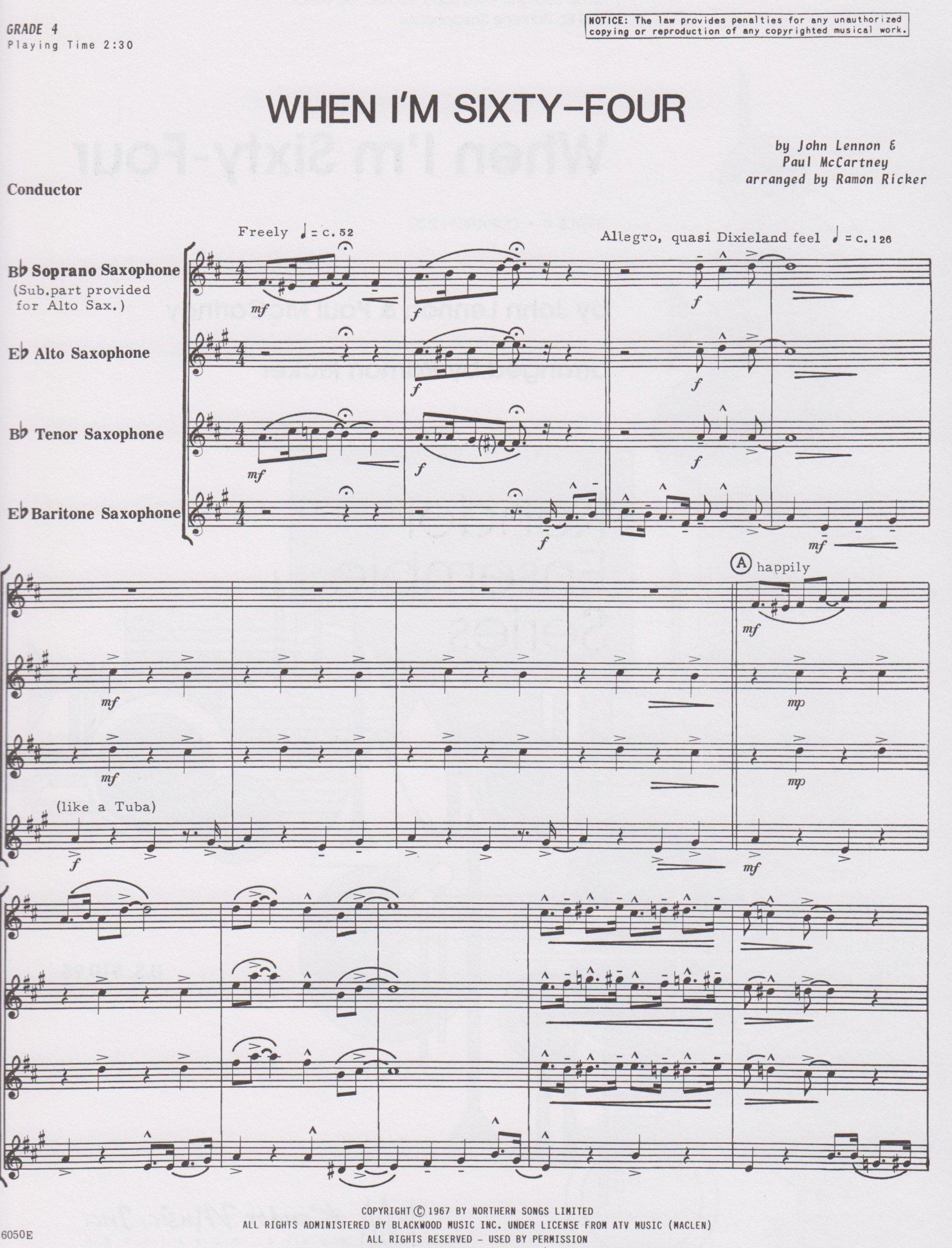 When I'm Sixty-Four for Saxophone Quartet by John Lennon