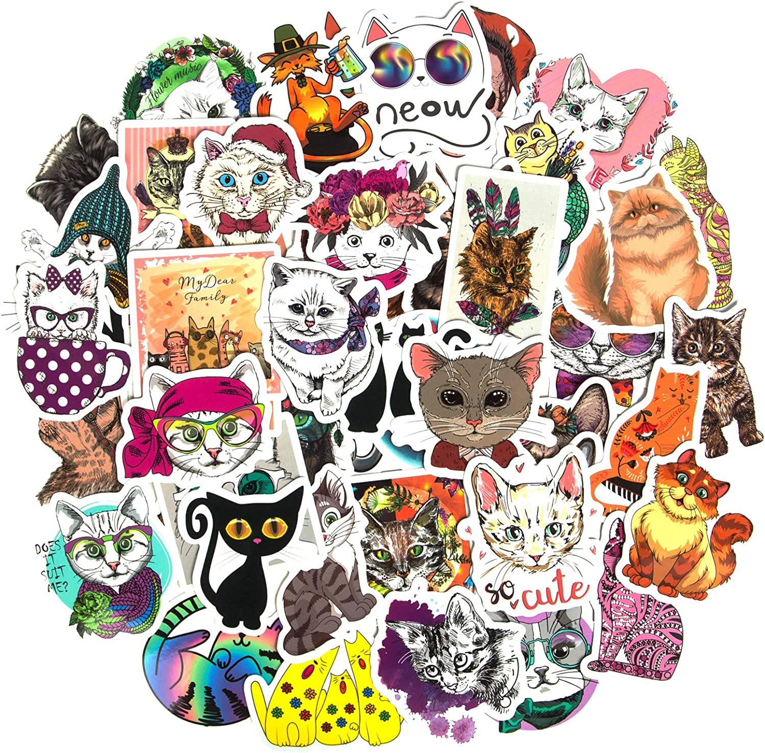 Cute Cat Stickers, Vinyl Stickers for Teens Animal Stickers for Water Bottles Skateboard Stickers for Laptop Luggage Computer Phone Guitar Graffiti Sticker Pack Decals