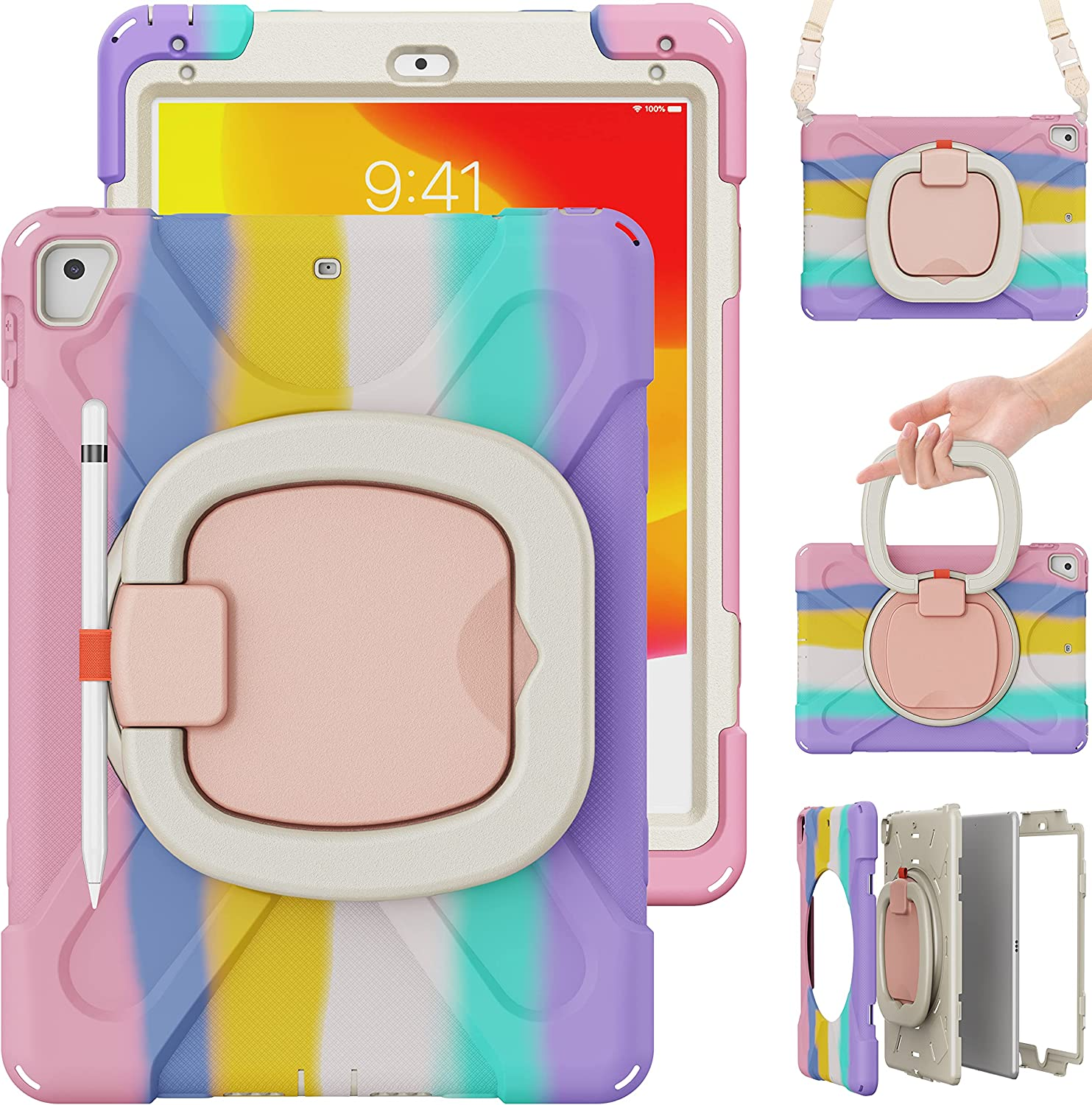 TSQ iPad Air 2 Case, iPad 5th/6th Generation Case, iPad Pro 9.7 Case for Kids Girls | Colorful Child Cute Case Cover w/ Stable Stand/Grip Shoulder Strap Pencil Holder for iPad 9.7 Inch | Rainbow Pink