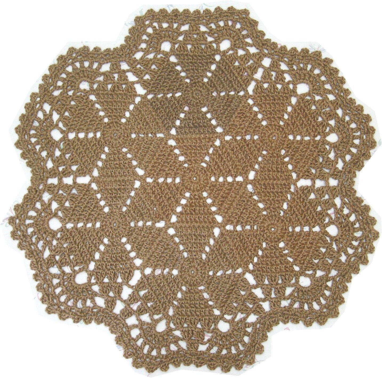 Round Area Jute Rug - Natural Fiber - Handmade Crochet Snowflake - 41