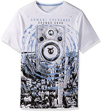 48dc8c0d0d4 Armani Exchange A|X Men's Loudspeaker Graphic Tee T-Shirt, White, XL ...