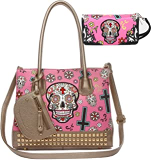 Sugar Skull Day of the Dead Cross Women Studded Purse Western Totes Handbag  Shoulder Bag Wallet cf9d71b6e4ea6