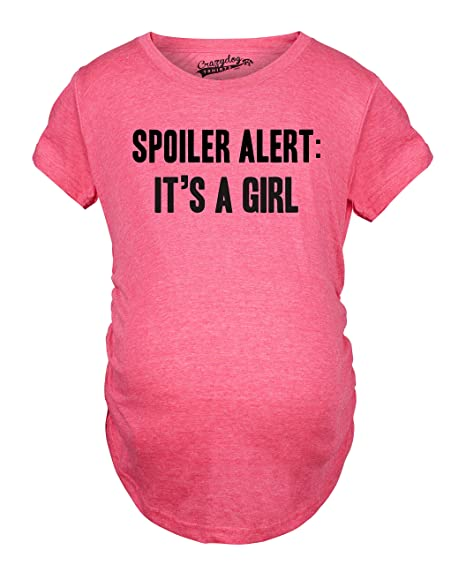5ad9a43af2c34 Crazy Dog T-Shirts Maternity Spoiler Alert It's a Girl Funny Gender Reveal Pregnancy  Announcement