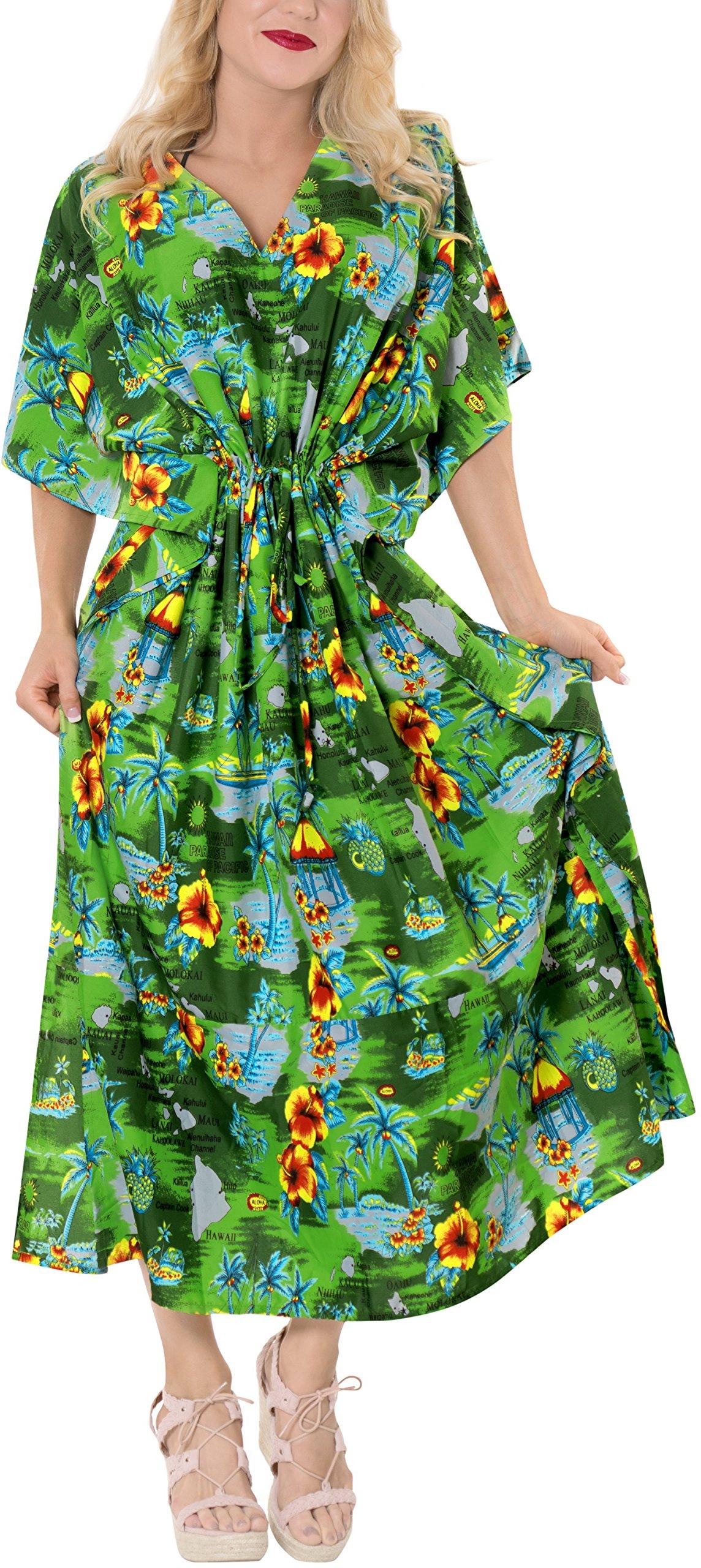 LA LEELA Likre Printed Long Caftan Swimwear Girls Green_591 OSFM 14-22W [L-3X]