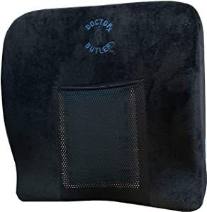 Doctor Butler's Orthopedic Memory Foam Seat Cushion and Chair Pillow - Sciatica, Coccyx & Tailbone Pain Relief with Gel Freeze Insert - for Office Desk Chair & Car Seat