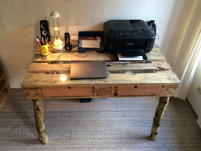 relaxedLiving Escritorio de una Placa de palé | 120 x 80 cm ...