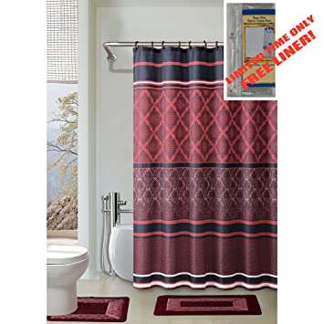 BURGUNDY/BLACK/RED 4 Piece Bathroom Set: 2 Rugs/Mats