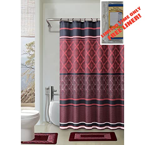 black and red shower curtain set. BURGUNDY BLACK RED 4 Piece Bathroom Set  2 Rugs Mats Amazon com