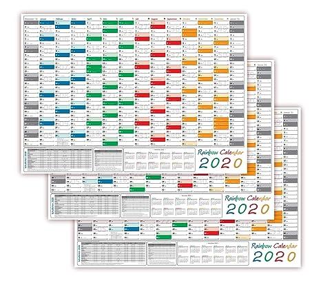 Calendario Rainbow.3 Pezzi Rainbow Calendario Da Parete Din A1 2018 Parete