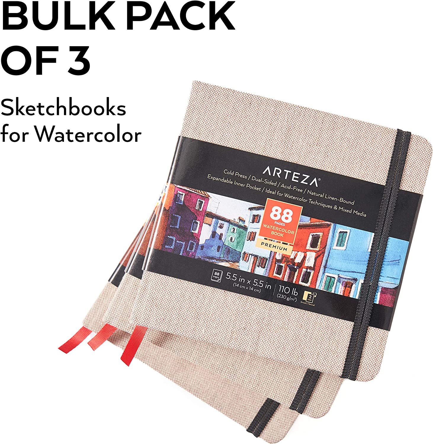 Beige Art Journal 3-Pack 5.5x5.5-inch Watercolor Sketchbook for Use as Travel Journal and Mixed Media Pad Arteza Watercolor Sketchbooks Hardcover 110lb Paper Book 132 Sheets
