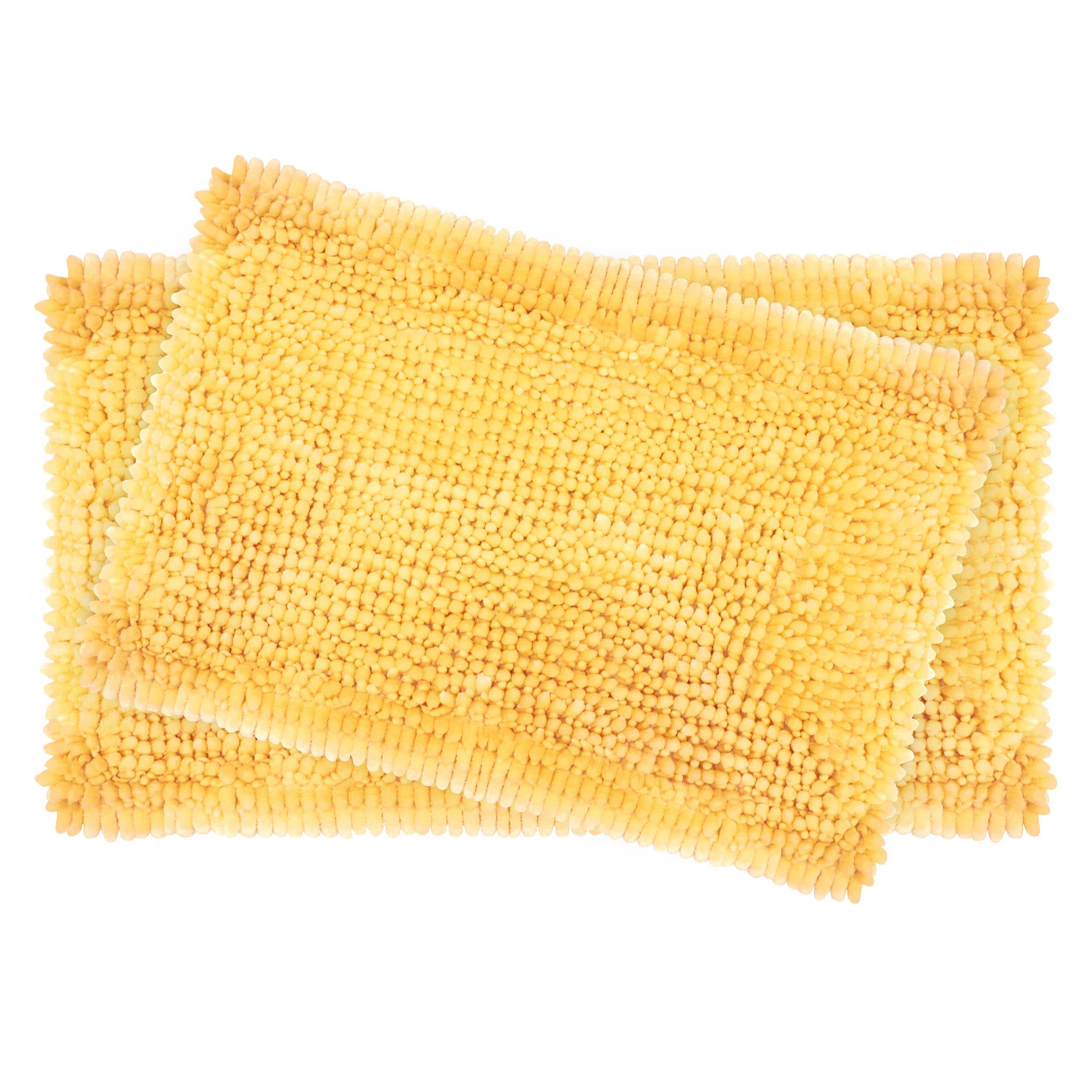Laura Ashley 2-Piece Butter Chenille 20'' x 34'' Bath Mat Set, Yellow
