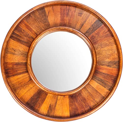 RED FIG HOME Wall Mirror Decor Decorative Wooden Frame Large Round Mounted for Hallway Bedroom Bathroom Living Room 24 Inch Diameter