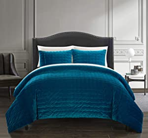 Chic Home Chyna 3 Piece Comforter Set Luxurious Hand Stitched Velvet Bedding - Decorative Pillow Shams Included, Queen, Teal