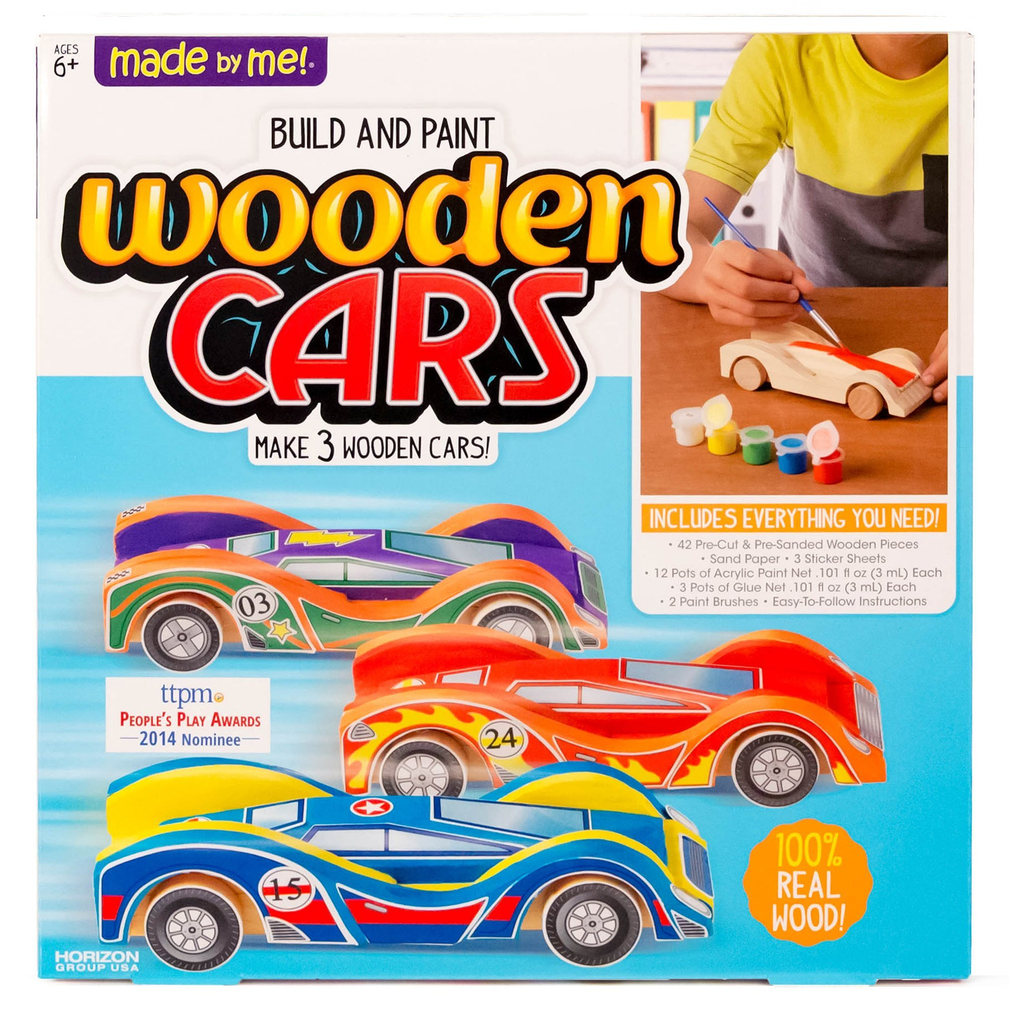 Made By Me Build & Paint Your Own Wooden Cars by Horizon Group Usa, DIY Wood Craft Kit, Easy To Assemble & Paint 3 Race Cars, Multicolored by Made By Me
