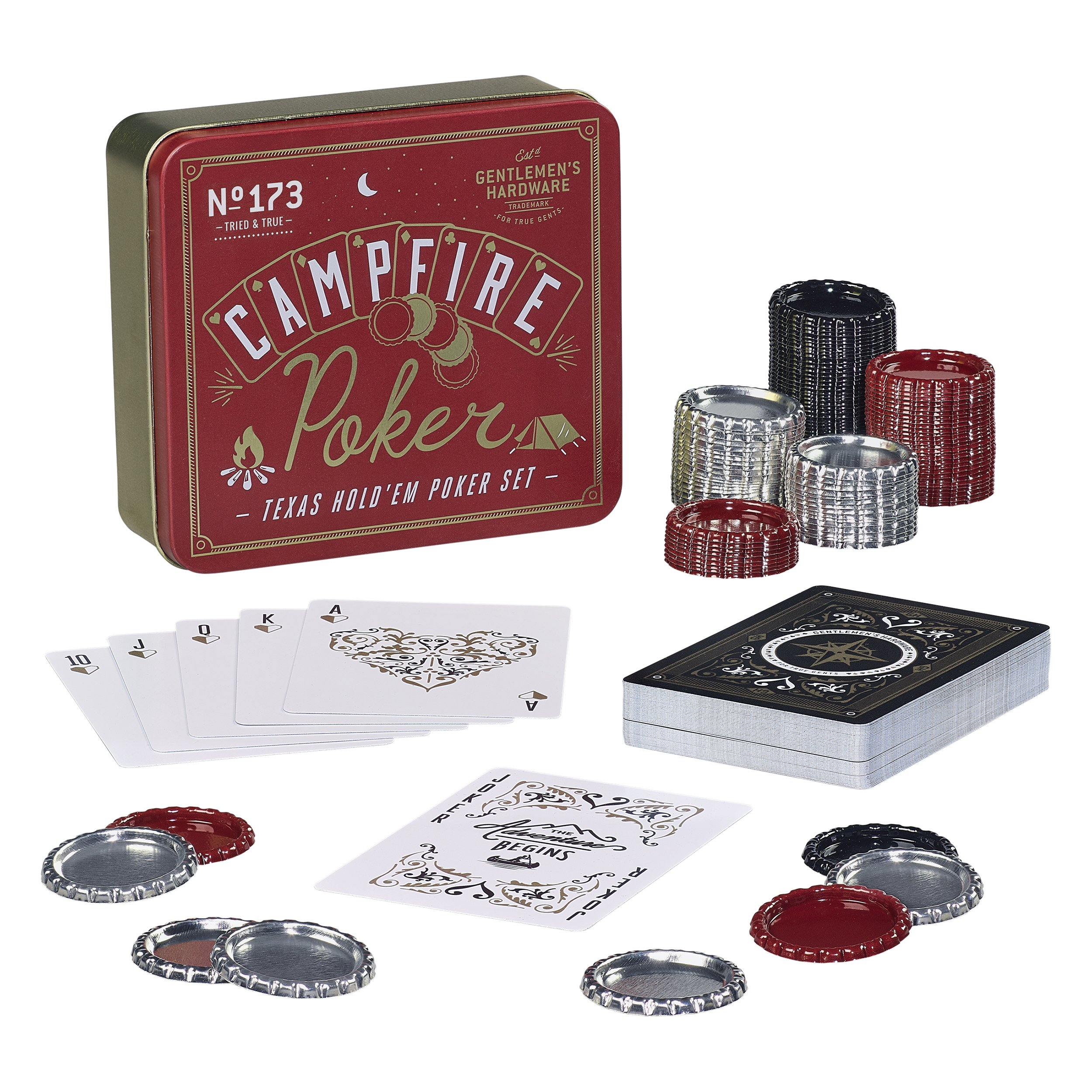 Gentlemen's Hardware Campfire Texas Hold'em Travel Poker Set with Bottle Cap Chips by Gentlemen's Hardware