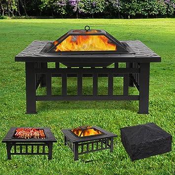 FEMOR Brasero Pour Jardin Terrasses BBQ Brasero Ménager Barbecue Pour Fête  Et Foyer 81*81
