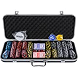 New Orleans Poker Chips Set - 500 Piece Numbered Poker Set (Free Accessories)