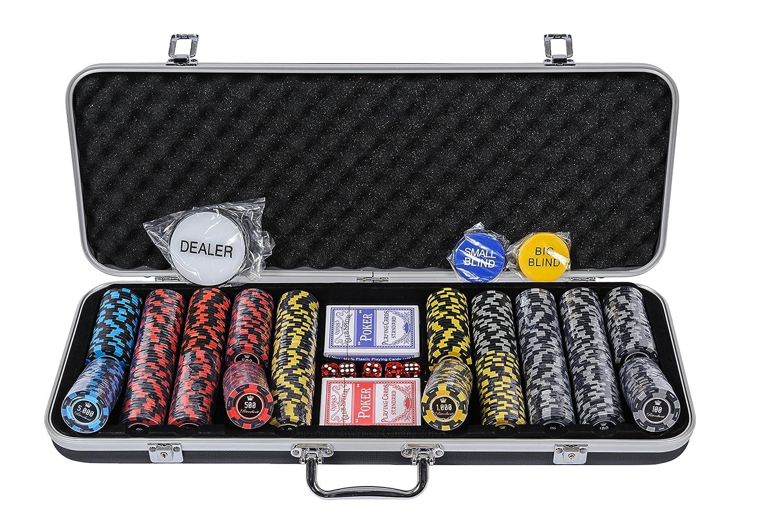500-teiliges Pokerset mit Wert Kostenloses Zubeh/ör Riverboat Gaming New Orleans Pokerset mit Pokerchips