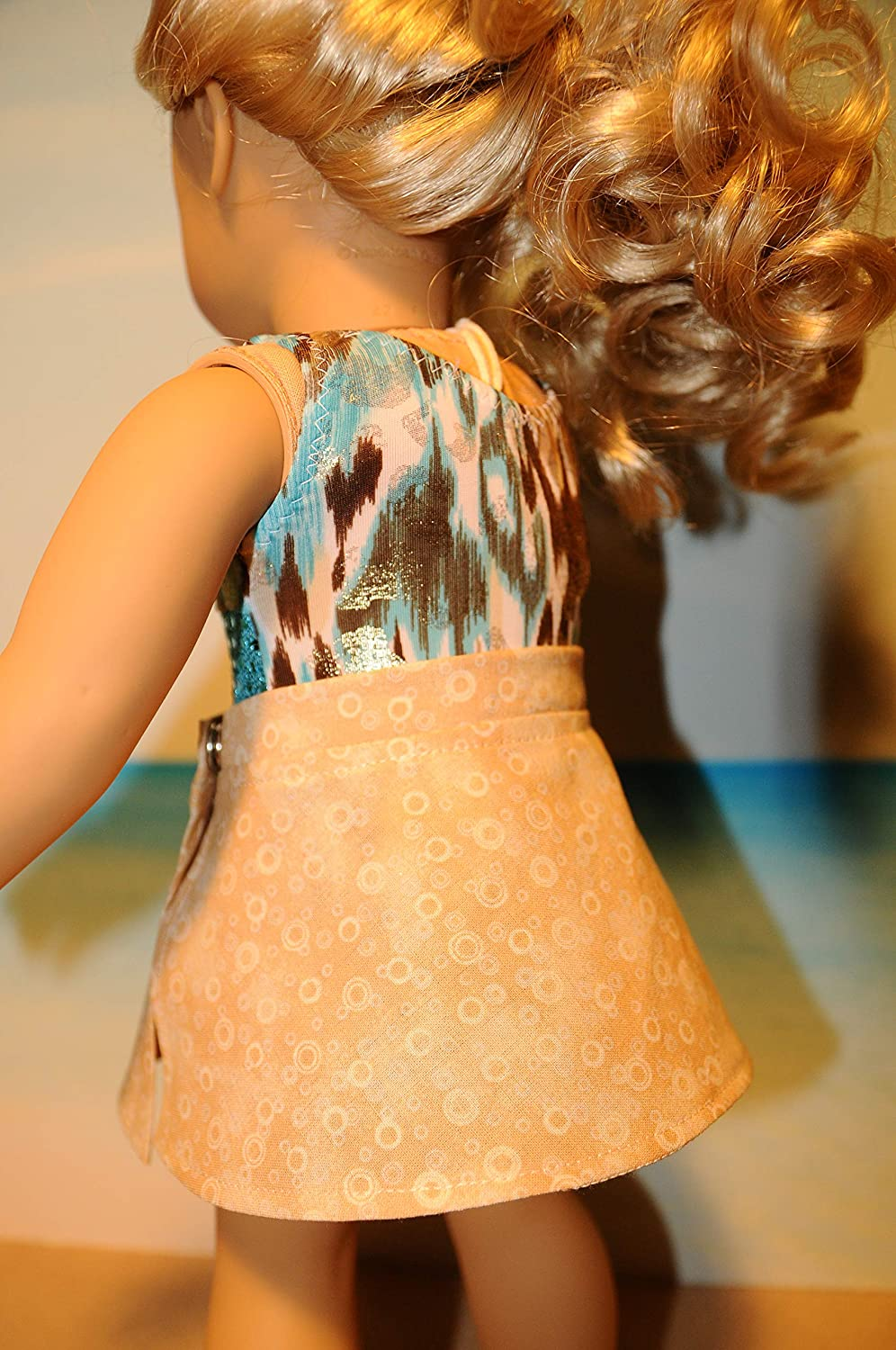Teal and Brown Swimsuit with Cover up Skirt for 18 Dolls