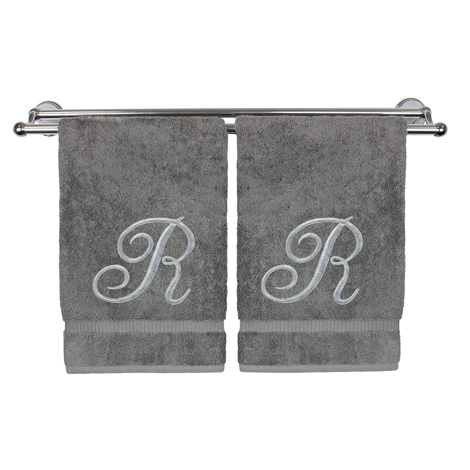 Monogrammed Hand Towel, Personalized Gift, 16 x 30 Inches - Set of 2 - Silver Embroidered Towel - Extra Absorbent 100% Turkish Cotton- Soft Terry Finish - for Bathroom, Kitchen and Spa- Script R Gray