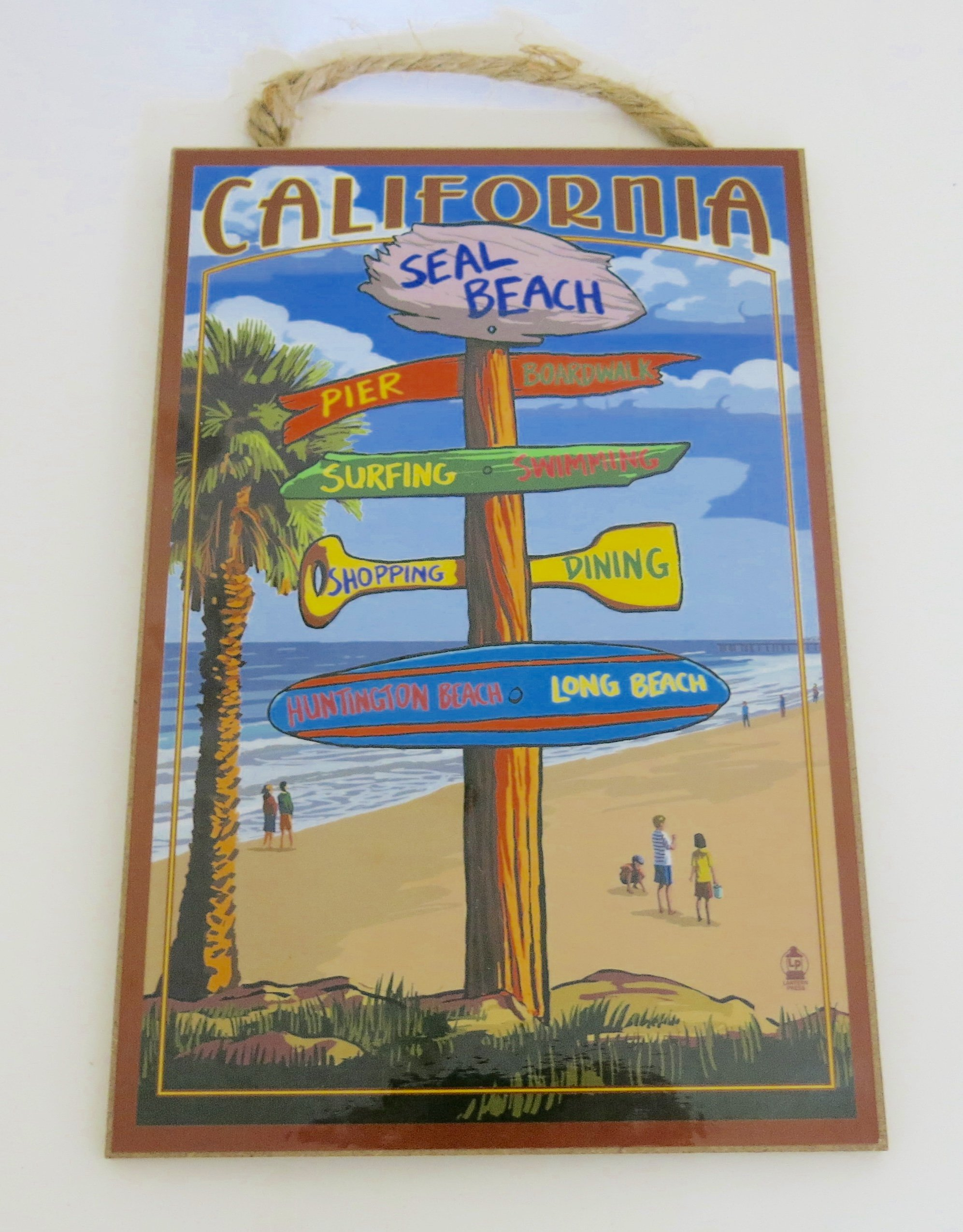 So.cal. Beaches, California, Souvenir, Wall Decor, Wood Plaque, Made in America, Size 10'' X 7''.