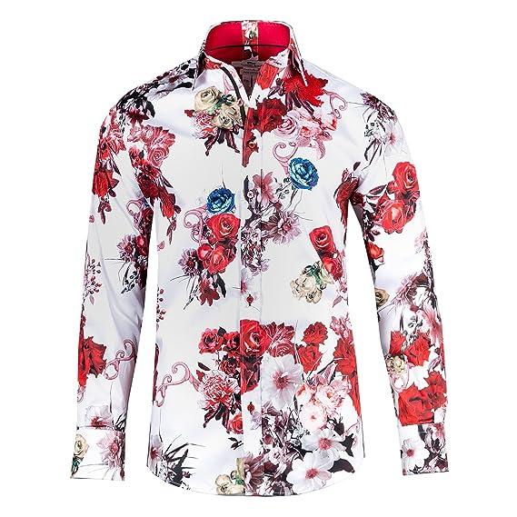 6c5d5b8f963847 Claudio Lugli Rose Flower Print Shirt L White: Claudio Lugli: Amazon.co.uk:  Clothing