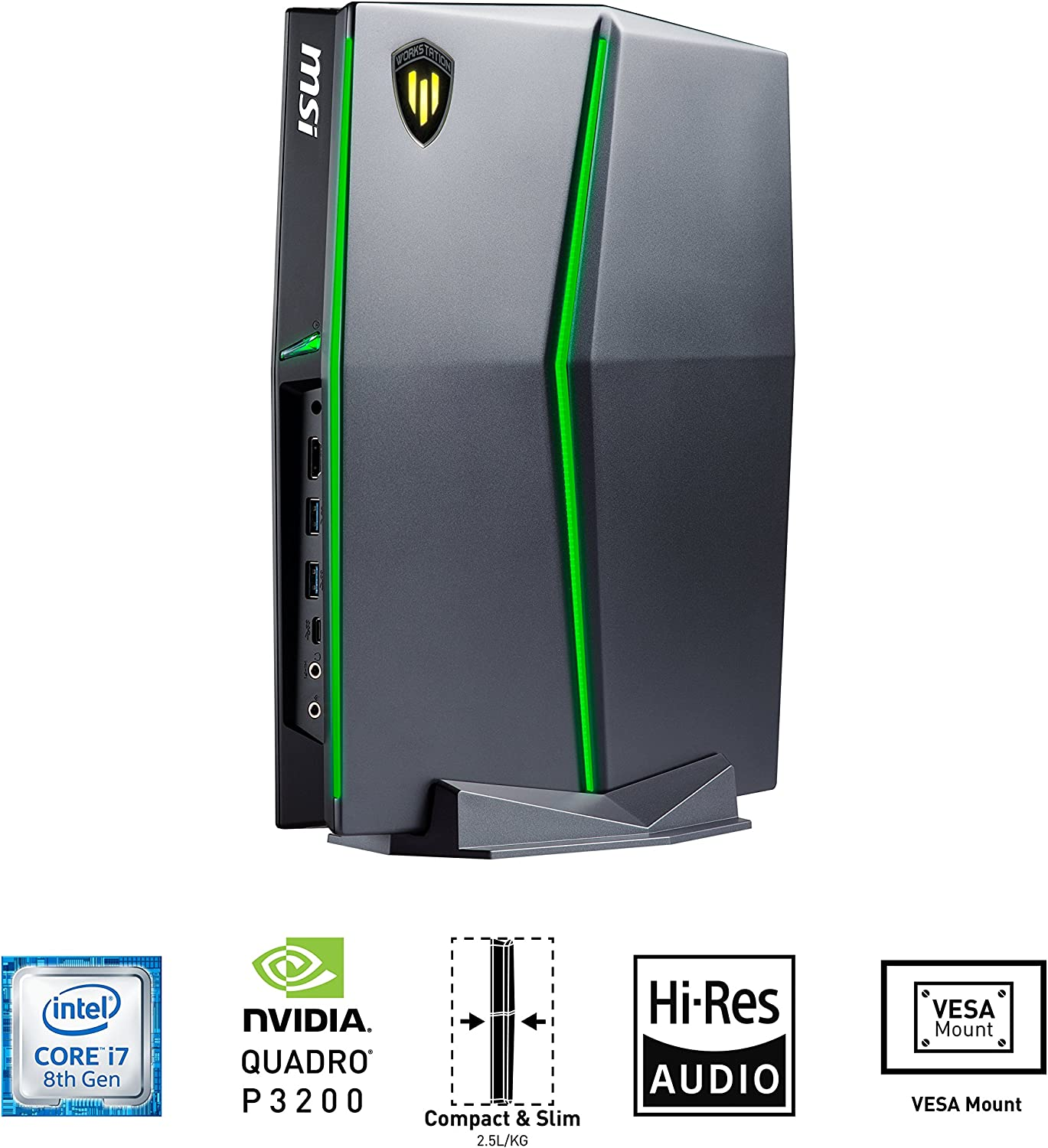MSI Vortex W25 8SK-061 Slim and Powerful Workstation i7-8700 Quadro P3200 6GB GDDR5 16GB RAM 256GB SSD NVME