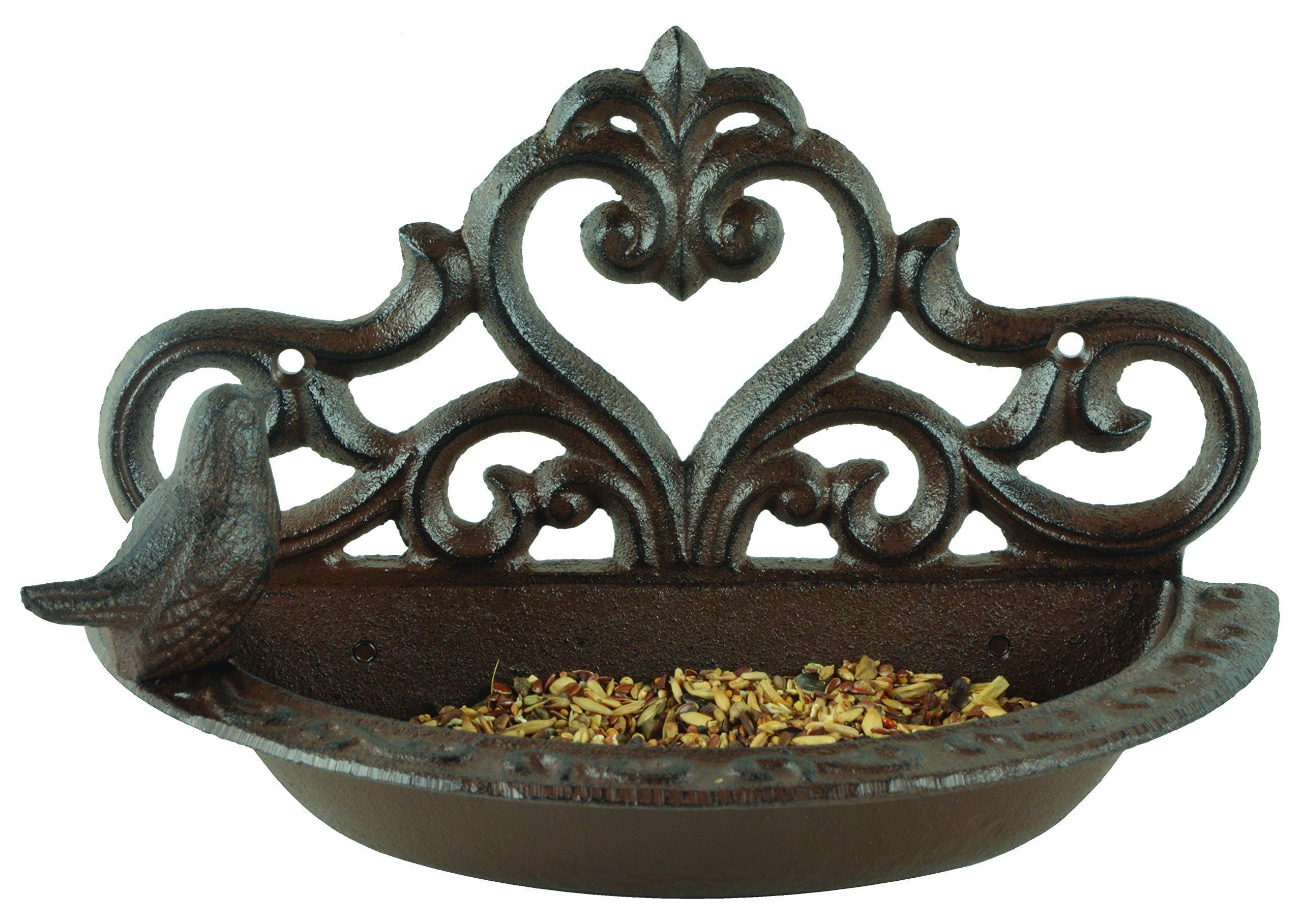 Esschert Design BR26 Series Wall Bird Feeder in Giftbox, Antique Brown