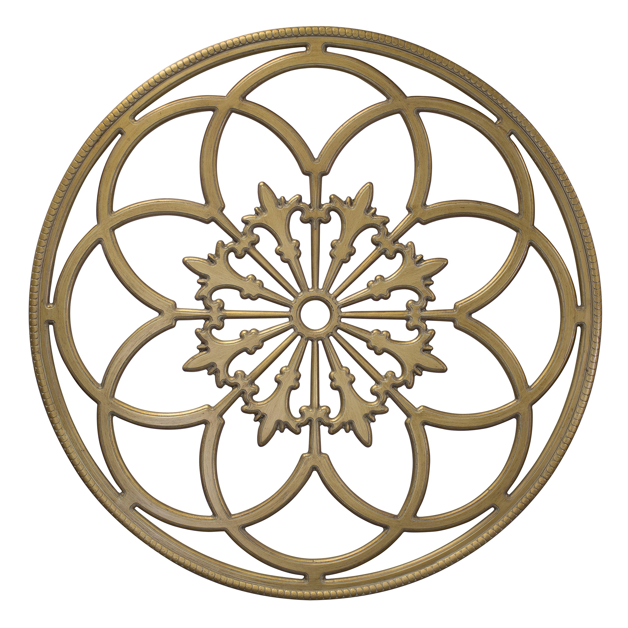 Kate and Laurel Ondelette Round Medallion Wood Wall Art Plaque, 32 inch Diameter, Gold
