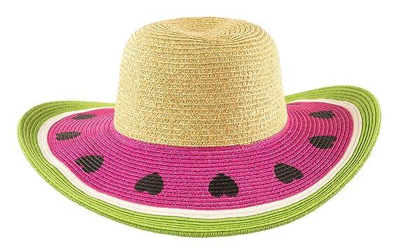 b4f48bf2 Amazon.com: Cute Watermelon Straw Sun Hat for Girls, Floppy Beach ...