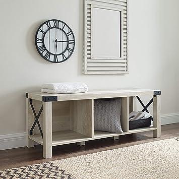 Amazon Com Walker Edison Sedalia Modern Farmhouse Metal X Entryway Bench 48 Inch White Oak Furniture Decor