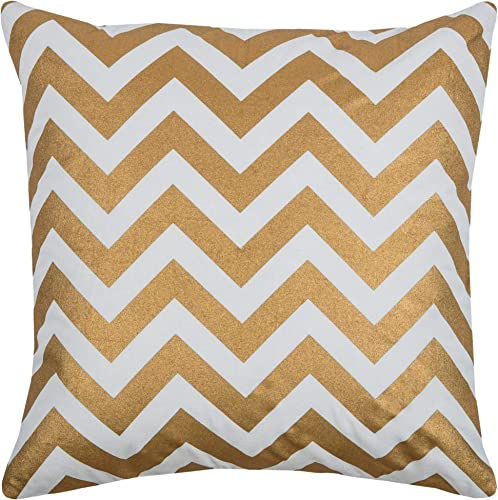 Rizzy Home T08776 Decorative Pillow, 18 X18 , Gold