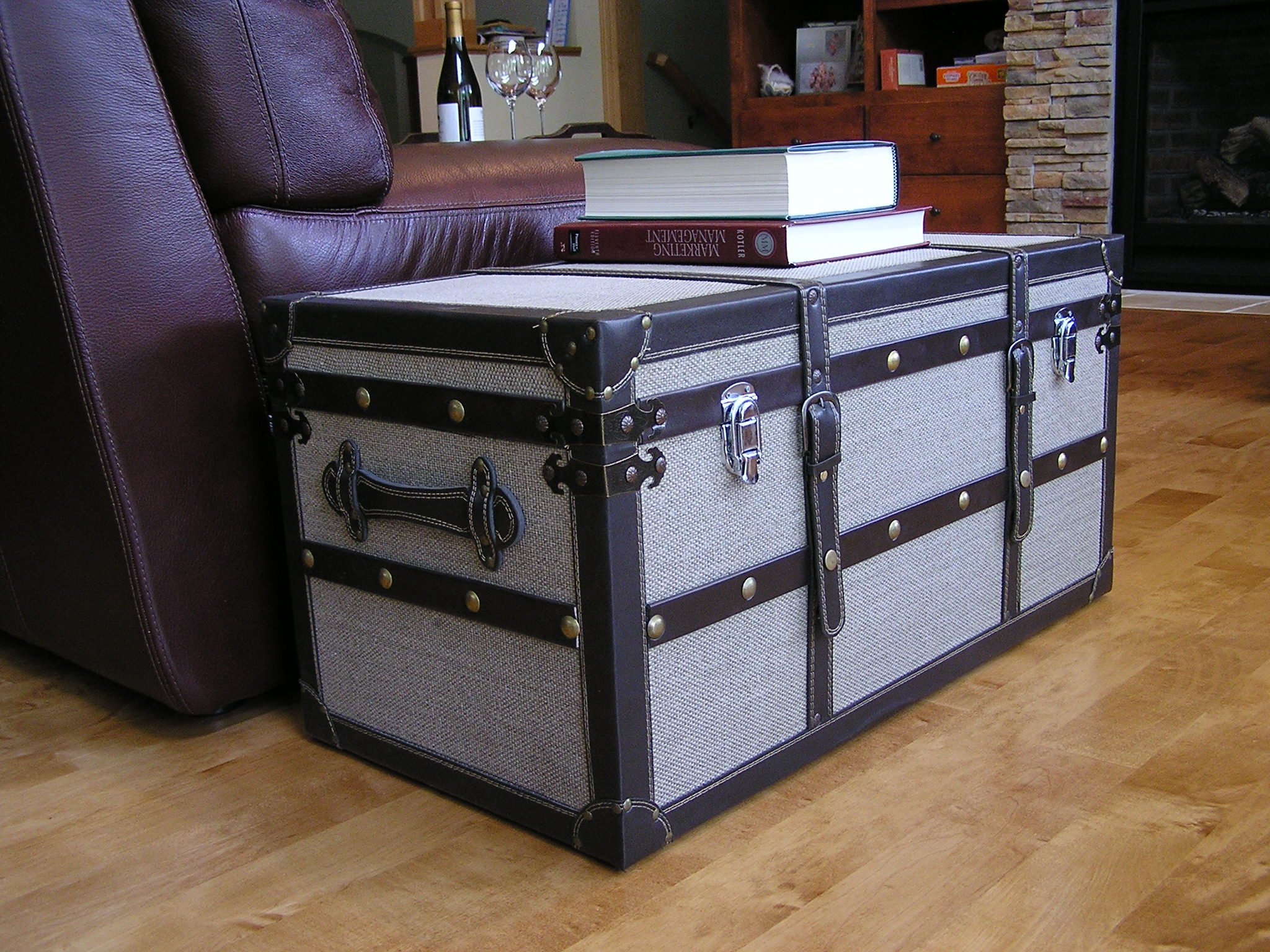 Styled Shopping Decorative Vienna Medium Wood Steamer Trunk Wooden Treasure Hope Chest by Styled Shopping