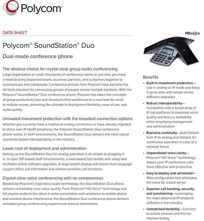 Polycom SoundStation Duo Analog and SIP phone: Amazon in: Electronics