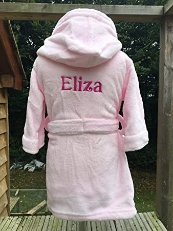 kids dressing gown personalised - pink (2-3 years, Pink - without ...